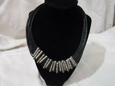 """LEATHER AND SILVER NECKLACE 18"""" (unmarked)"""