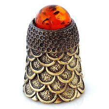 Thimble Brass & Honey Baltic Amber Flake Ornament Miniature Russian Souvenir