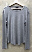 New Theory Easy Crew Gray Long Sleeve shirt Top T-shirt Tee Refined Rib S Small