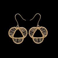 925 Sterling Silver Gold Polish Jaliwork Filigree Earrings Women Fashion Jewelry