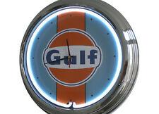 N-0302 Gulf Racing - Deko Neon Uhr Clock Wanduhr Neonuhr Neonclock Werkstatt