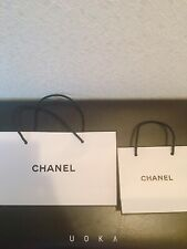 CHANEL WHITE BLACK DESIGNER PAPER GIFT SHOPPING BAG PACKAGING Used F/S 2 pieces
