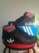 ADIDAS ORIGINALS HARD COURT HI MENS LEATHER BLACK TRAINERS-SIZE 10