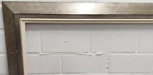Holzrahmen silber weiß Falzmaß ca. 69,5x95,5 cm