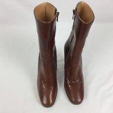 Vintage Carvela Ladies Italian Brown Leather Mid Calf Zip up Boots sz 5 Eu 38