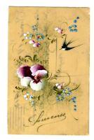 CPA Fantaisie Souvenir Carte peinte à la main