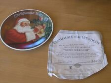 Knowles Norman Rockwell Santa's Golden Gift Collector Plate Christmas 1987 +cert