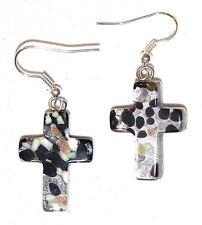 EARRINGS E12 Fused Glass Crosses BLACK & SILVER FOIL CROSS