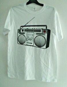 BACARDI RADIO CASSTTE WHITE MEDIUM T-SHIRT NEW