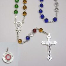 Missionary Rosary - Vibrant Glass Beads -  Bonus St Anthony Relic Medal