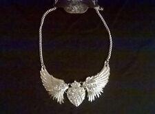 NWT BEAUTIFUL ANGEL WINGS RHINESTONE HEART NECKLACE/CHOKER WITH RHINESTONES