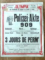 altes Kinoplakat von 1938 aus Colmar, Polizei-Akte 909 / 3 Jours de Perm'