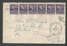 1938 Prexy #807 (3c)x6=18c Pays Airmail Spec Del Scarce Strip Usage Of 5+1Cover