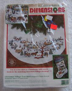 Dimensions Christmas Village Tree Skirt Counted Cross Stitch Kit Charles Wysocki