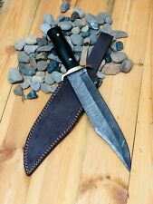 MH Knives Damascus Hand Forged HandMade Knife Alamo Musso Bowie Buffalo Horn