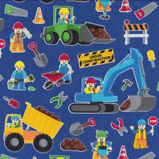 Lego Construction on Blue Digger Excavator Dump Truck Quilt Fabric FQ or Met