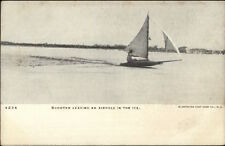 Ice Sailing Boating Scooter Leaving an Airhole c1905 Postcard