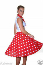 LADIES PINK,RED BLACK POLKA DOT ROCK AND ROLL 50s SKIRT & SCARF FANCY DRESS 18""