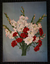 Original Large LITHO BOUQUET of FLOWERS  By Amelia Johnson 1943