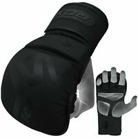 RDX Leather MMA Gloves Grappling Training Sparring Punching Bag Kick Boxing T15
