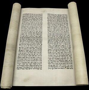 LARGE VELLUM TORAH BIBLE Genesis SCROLL MANUSCRIPT 150 YRS EUROPE