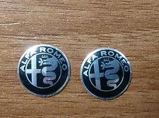 Set of 2pcs  BLACK Alfa Romeo Key fob 15mm/12mm emblem badge logo insignia