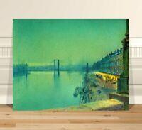 """John Atkinson Grimshaw Quai De Rouin Paris ~ FINE ART CANVAS PRINT 8x10"""""""