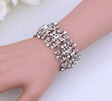 Bridal Crystal Austrian Crystal Silver Cuff  Bracelet/Bangle High Quality