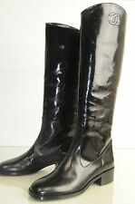 $1700 New Chanel ASCOT CC Black Knee High Riding Flat Boots Shoes 35 37 40.5 41