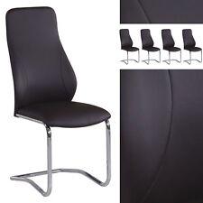 4er Set Freischwinger Stühle braun Küchenstuhl- Esszimmerstuhl Chrom Kunstleder