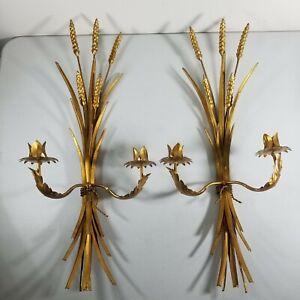 "Vtg Set Hollywood Regency Italy Gold Wheat Sheaf Wall Candle Holder Sconces 24"""
