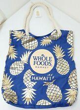 Whole Foods Hawaii Eco Friendly Reusable Tote beach Bag Navy Hawaiian Pineapple