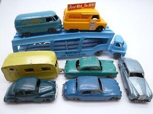 MATCHBOX LESNEY A2 BEDFORD TRANSPORTER & 7 CARS VANS FORD JAGUAR MORRIS VW 1950s
