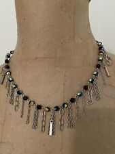 Touchstone Crystal Sworovski Blue Stones with Silver Chains Hanging Down Necklac