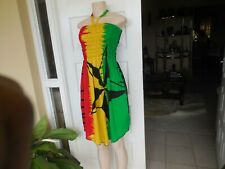 Dress One Love Handmade Rasta Color Off Shoulder Elastic Top 12 16 100% Cotton