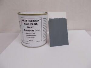 1 x 500ml Matt Dark Grey Heat Resistant Wall Paint For Wood Burner Stove Alcove