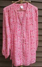 Woman's Pink & White Shirt by Terra & Sky; Size:  0X