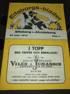 FOOTBALL PROGRAMME IF ELFSBORG-ATVIDABERG SWEDEN SVERIGE LEAGUE 26.09.1973