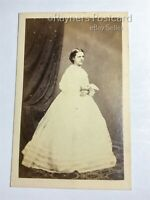 Antique Victorian CDV S.A. Walker Studio Photo of a Woman In White Dress 01/66