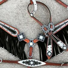 Western Horse Bling! Black + White Bridle + Breast Collar, Wither Strap Tack Set