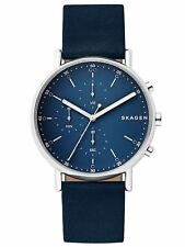 Skagen Mens Signatur Navy Blue Leather Silver Tone Chronograph Watch SKW6463 NWT