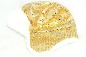 Gap Kids Girls Sz S/M Gold Sequined & White Faux Fur Hat