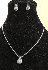 Sterling Silver Cubic Zirconia Pendant Necklace Matching Drop Earrings