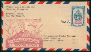 Mayfairstamps Nicaragua 1940s First Flight Clipper PAA to Houston Texas Cover ww