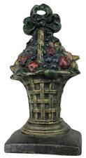 Antique ALBANY FOUNDRY / HUBLEY Fruit Basket Original Painted Cast Iron Doorstop