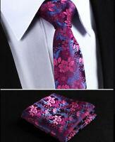Mens Wedding Tie Fuschia Pink Blue Purple Floral Silk FREE Hanky 509