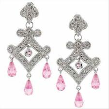 925 Silver Pink & White CZ Chandelier Earrings