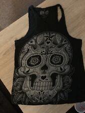 Sugar Skull Tank Top Iron Fist Xsmall Womens Black