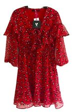 VERY Red Leopard Print Lace-up Front Chiffon Short Dress Size 12