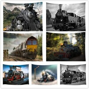 Retro Steam Train Design Tapestry Hippie Wall Hanging Rug for Dorm Living Room